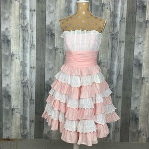 Betsey Johnson pink and White Ruffle Dress Sz 8